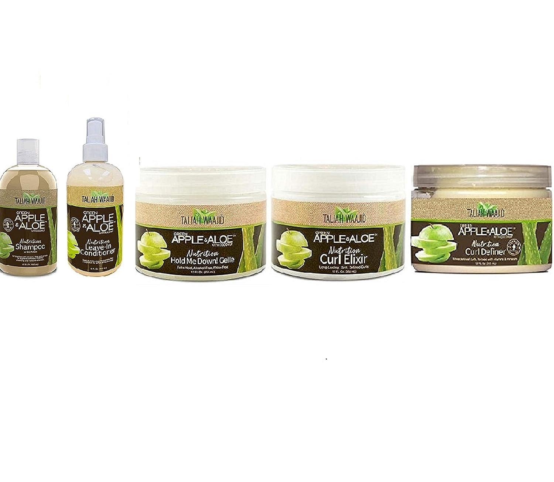 Taliah Waajid Green Apple & Aloe Nutrition 5 pcs Combo Set -Shampoo 12oz, Leave In 12oz, Curl Renew 12oz, Hold Me Down! Gelle 12oz, Curl Elixir 12oz