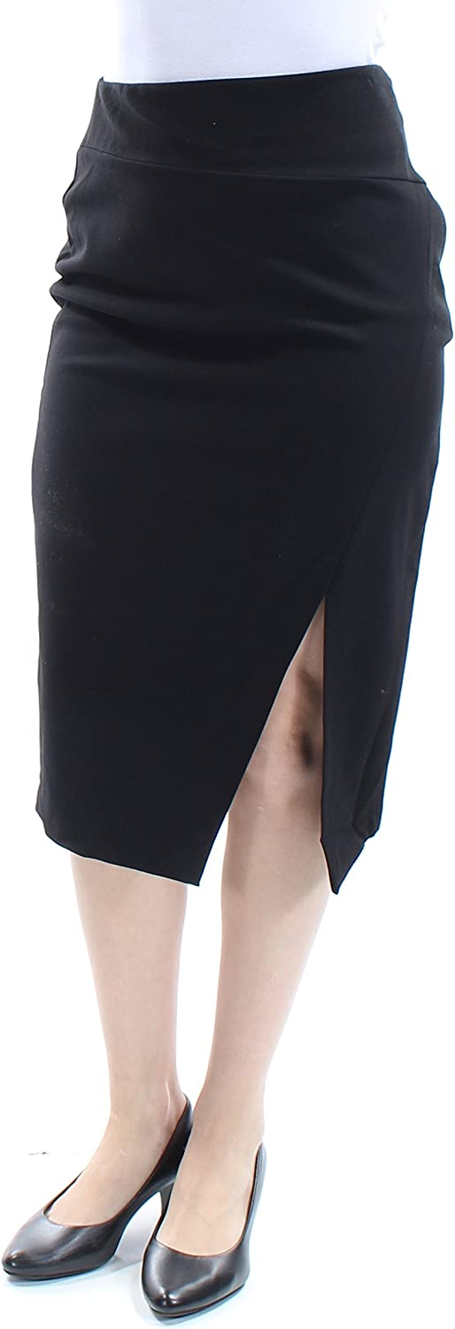Bar III Womens Solid Front Slit Pencil Skirt Black S