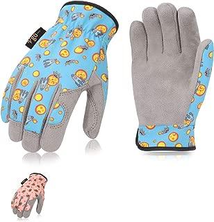 Vgo... 2Pairs Age 3-4 Kids Gardening, Lawning, DIY Light Duty Work Gloves (Size XS,Random Combination of Blue & Pink, KID-MF7362)