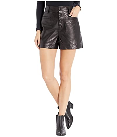 7 For All Mankind Button Front Shorts (Jet Black) Women