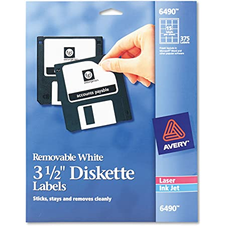 Removable Adhesive 840 Matte White Labels Avery 2 x 2 11//16 Square Labels 6490