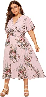 Milumia Plus Size Short Sleeves Wrap V Neck Belted Empire Waist Asymmetrical High Low Bohemian Party Maxi Dress