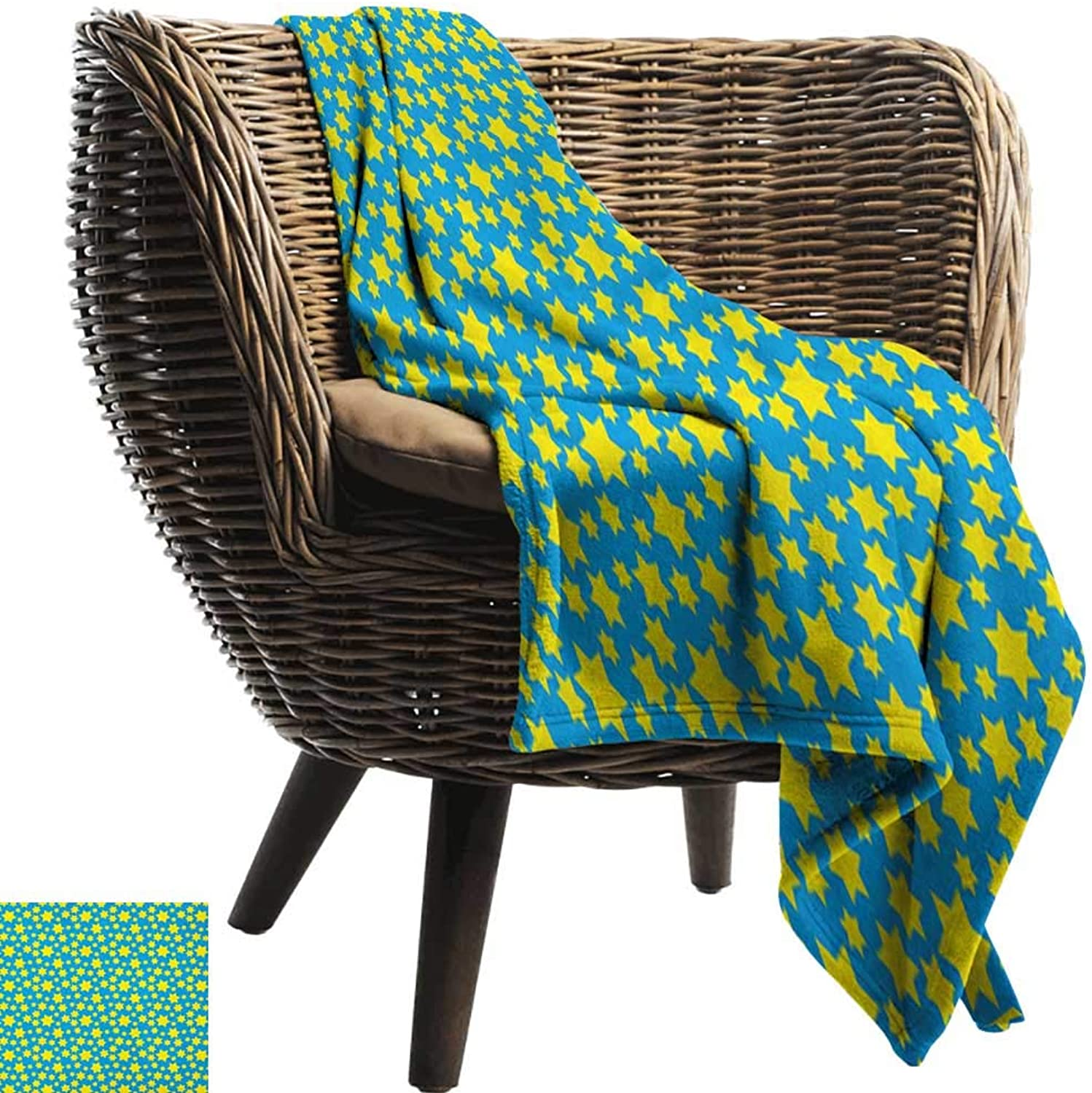 Warmfamily Blanket Sheets Yellow and bluee Stars Motif in Various Size Spiritual with Kids Effects Cute Design All Season Light Weight Living Room50 Wx60 L