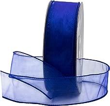 Royal Blue Organza Wired Sheer Ribbon 1.5