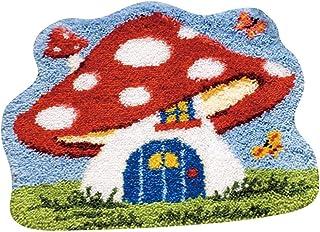 MLADEN Latch Hook Rug Kit DIY Crochet Yarn Kits Hooking Rug for Adults and Kids (Mushroom)