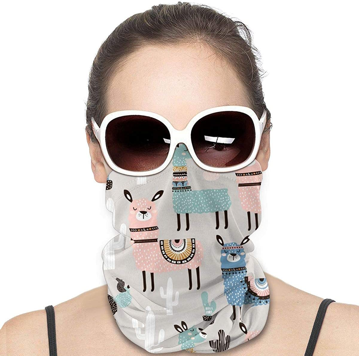 KiuLoam Women Bandanas Face Mask, Tribal Ethnic Llamas Colorful Neck Gaiter Mask Headband for Men Face Scarf Dust, Outdoors, Sports
