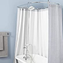"""Signature Hardware 939248-60-P Gooseneck Hand Shower Conversion Kit with Porcelain Shower Head, Porcelain Lever Handles and 60"""" x 28"""" Curtain Ring"""