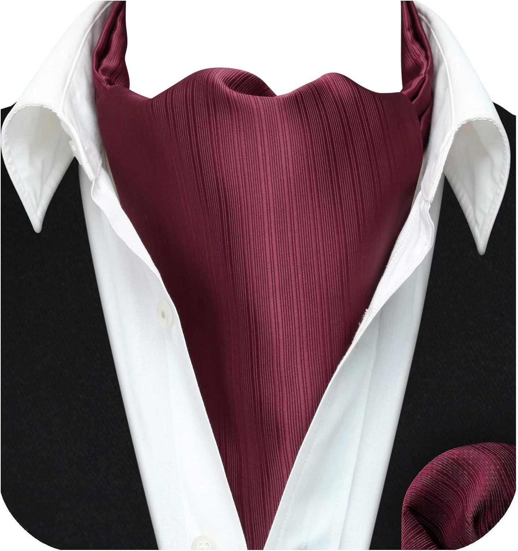 HISDERN Mens Cravat Tie Paisley Floral Casual Ascot Necktie Scarf Woven Pocket Square Set Wedding Party