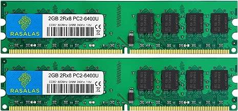 Rasalas DDR2 PC2-6400 4GB Kit (2x2gb) DDR2-800 Udimm Ram Desktop DDR2 800mhz pc2 6400 pc2-6400u 1.8V CL6 240 Pin Non-ECC Unbuffered Desktop Memory Modules