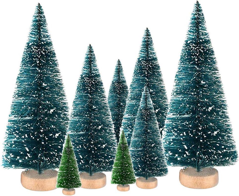 8Pcs Mini Artificial Sisal High order Snow Trees Christmas Bottle Ornaments Cheap sale