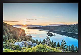 Lake Tahoe Emerald Bay Sunrise Photo Art Print Black Wood Framed Poster 14x20