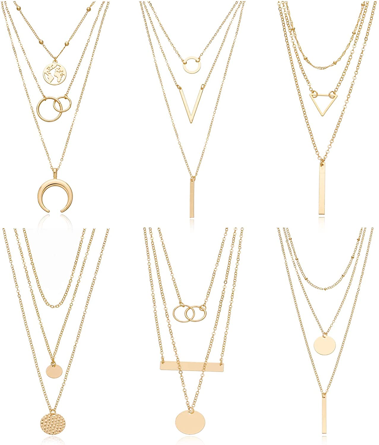Biokia 6 Pieces Layered Necklaces for Women Long Necklaces Gold Choker Necklaces Map Coin Bar Crescent Moon Necklace Layered Y Pendant Necklace Multilayer