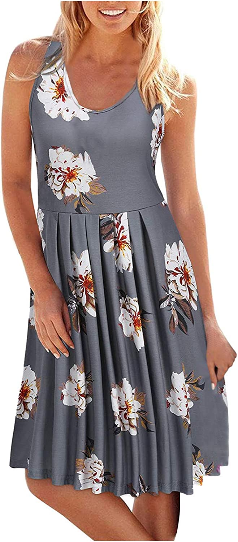 AODONG Dress for Women Casual Summer,Womens Solid Sleeveless Casual Cami Dresses Swing Sundress Party Beach Dress