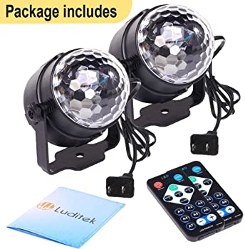 [2-Pack] Sound Activated Party Lights with Remote Control Dj Lighting, RGB Disco Ball Light, Strobe Lamp 7 Modes Stag...