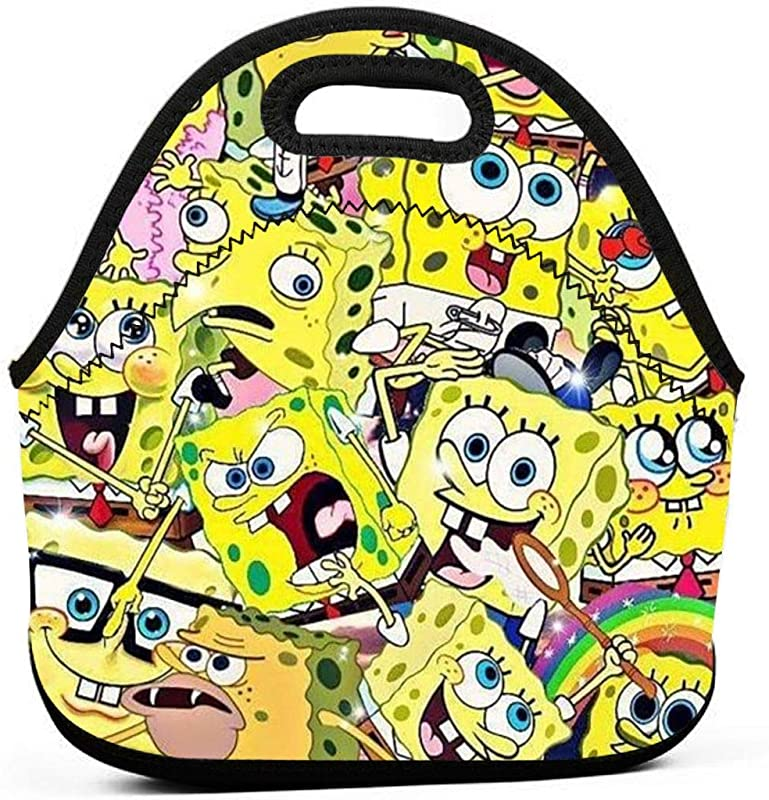 YHHCZX Spongebob Portable Lunch Bag Carry Case Tote With Zipper Strap Box Cooler Container Bags Picnic Outdoor Travel Handbag Pouch For Women Men Kids Girls