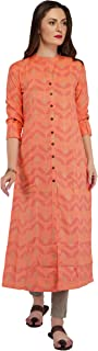 METRO-FASHION Women Straight Calf Long Cotton Kurta