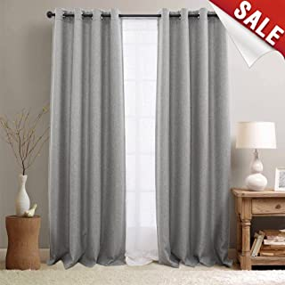 jinchan Room Darkening Window Curtain Panels for Bedroom Curtains for Living Room Linen Look Textured Drapes Single Panel 108 Grey