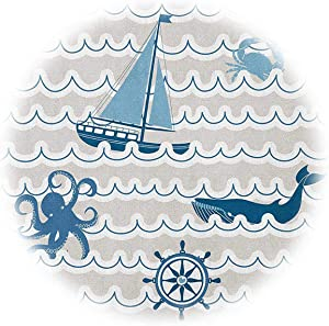 Nautical Extra Large Quilt Cover Wave Pattern with Nautical Elements Icons Octopus Crab Starfish Whale Art Can be Used as a Quilt Cover-Lightweight (Full) Beige Blue White