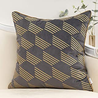 Yangest Dark Grey and Gold Embroidery Velvet Throw Pillow Cover Geometric Line Cushion Case Modern Luxury Pillowcase for S...