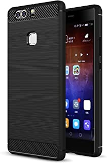 Huawei P9 Plus Case, Landee Soft TPU Shock Absorption and Carbon Fiber Design Silicone Case for Huawei P9 Plus / P9+ (Black)