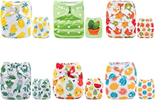 ALVABABY Pocket Cloth Diapers Reusable Washable Adjustable for Baby Boys and Girls,6 Pack with 12 Inserts 6DM31