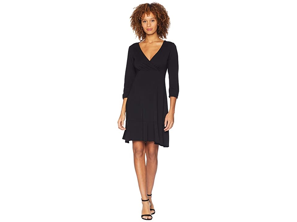 Mod-o-doc Cotton Modal Spandex Jersey Surplice Front Dress with Flounce Hem (Black) Women