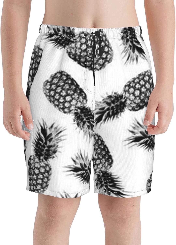 Genuine Free Shipping Neddelo Black White Pineapple Boys Beach Swim Boar Trunks Teens OFFicial mail order