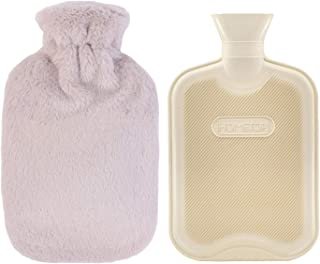 HomeTop Premium Classic Rubber Hot Water Bottle w/Luxurious Faux Fur Plush Fleece Cover (2L, Cream White)