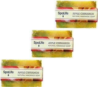 SpaLife Natural Bar Soap - Handmade - 3 Pack - 3.5oz Each (Apple Cinnamon)