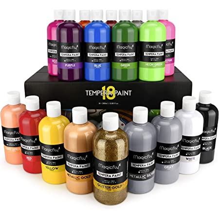 Magicfly Témperas para Niños 18 Colores 380 ml, Gran Volumen, Set de Pintura Témpera Lavable, Colores Básico Metalizados Neón Purpurina, Témperas Líquidas para Niños Adultos Artistas