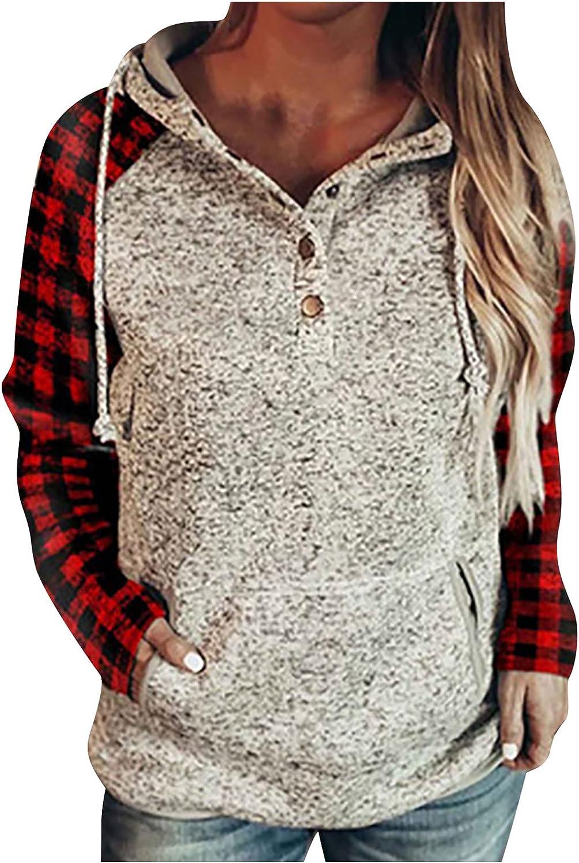 Sale item Womens Fashion Hoodies Pullover Industry No. 1 Plaid Color Lo Sweatshirts Block