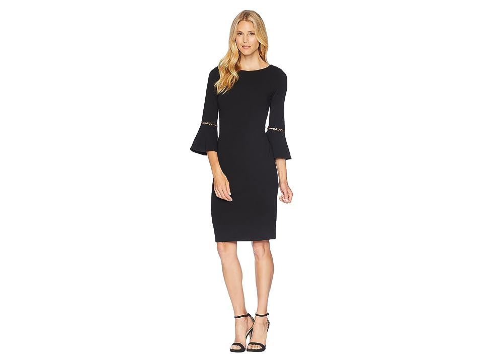 Calvin Klein Bell Sleeve Dress with Hardwire Detail CD8C14LJ (Black) Women