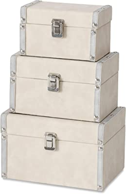 3 Piece Silver Studs Box Set, Faux Sand Beige Suede and Leather, Fabric Lined, Flip Latch Closure, Table Top, Lined, Decorative, Storage, Gift, Jewelry Organizers, MDF Wood, 9, 7.75, and 6.75 Inches