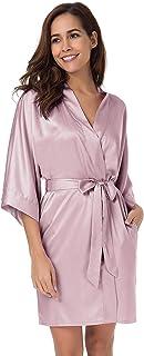 SIORO Women's Satin Robe,Silky Kimono Bathrobe for Bride Bridesmaids,Wedding Party Loungewear Short XS-XXL