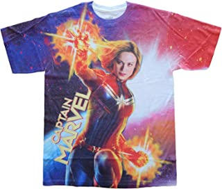 تي شيرت رجالي أبيض مقاس 2XL مطبوع عليه Marvel Comics Captain Front Sublimation
