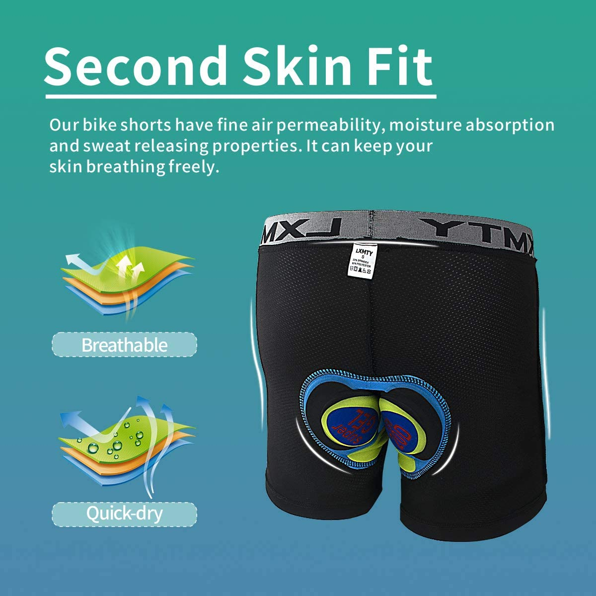 LXMTY Mens Cycling Shorts Underwear Motorcycle Compression Pants with Wider 4D Pad Bicycle Bike MTB Liner Shorts