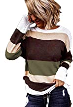 $22 » Letdown Accessories Women Striped Sweater Long Sleeve Crew Neck Patchwork Loose Knitted Pullover Fleece Lightweight Sweats...