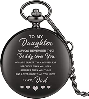 "Engraved Pocket Watch, Pocket Watch for Girls, Personalized Gift""to My Daughter"" Black Full Hunter Pocket Watch Steampunk Clock"