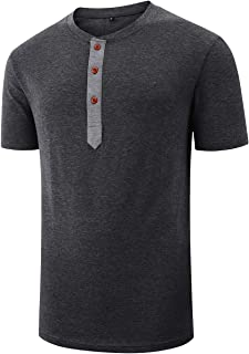 Mens Henley Short Sleeve Shirts Button Casual Tshirts Solid Color Cotton Tops