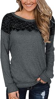 Women's Black Lace Top Long Sleeve Elegant Sweatshirt