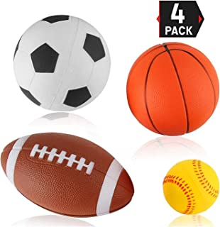 Liberty Imports Set of 4 Soft PU Mini Sports Balls for Kids (Football, Basketball, Soccer, Baseball)