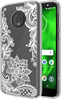 Moto G6 Case, SWODERS Flower Clear Design Shock Absorbing TPU + Hard PC Bumper Case for Motorola Moto G6 - White