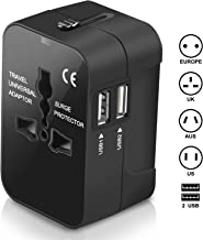 Travel Adapter, Amoner International Power Plug Converter UK Plug Adapter Kits with Dual USB Ports Worldwide All in One AC Wall Outlet Charger Adapters for UK, US, AU, Europe & Asia(Black)