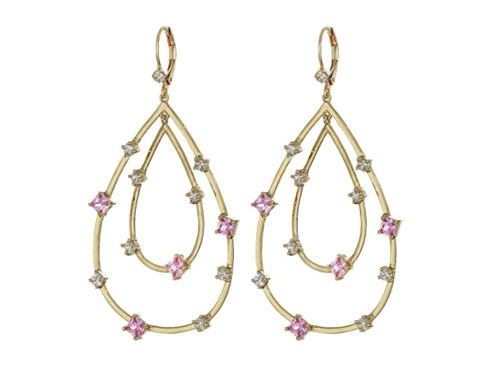Nina  Adorned Layered Teardrop Earrings (Gold/Light Pink/White CZ) Earring