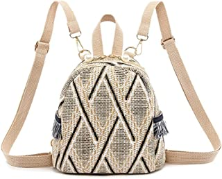 chinatera Straw Backpack Women Mini Backpack for School Travel Shoulder Bag Straw Shoulder Crossbody Bags