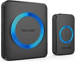 TECKNET Wireless Doorbell, Waterproof Wall Plug-in Cordless Door Chime Kit With 300m Range, 32 Chimes, 4-Level Volume & Blue Light, No Batteries Required Best for Plug in Door Entry Bell