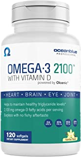 Oceanblue Omega-3 2100 with Vitamin D3 – 120 ct – Triple Strength Burpless Fish Oil with High-Concentration EPA and DHA, a...
