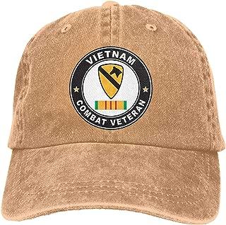Adult Baseball Cap Denim Dad Hat Vintage Cowboy Trucker Cap US Army 1st Cavalry Division Vietnam Combat Veteran Ribbon