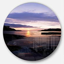 "Designart MT8937-C23 White park Bay Beach and Shore Photo Large Disc Metal Wall Art, 23"" x 23"", Blue/Yellow"