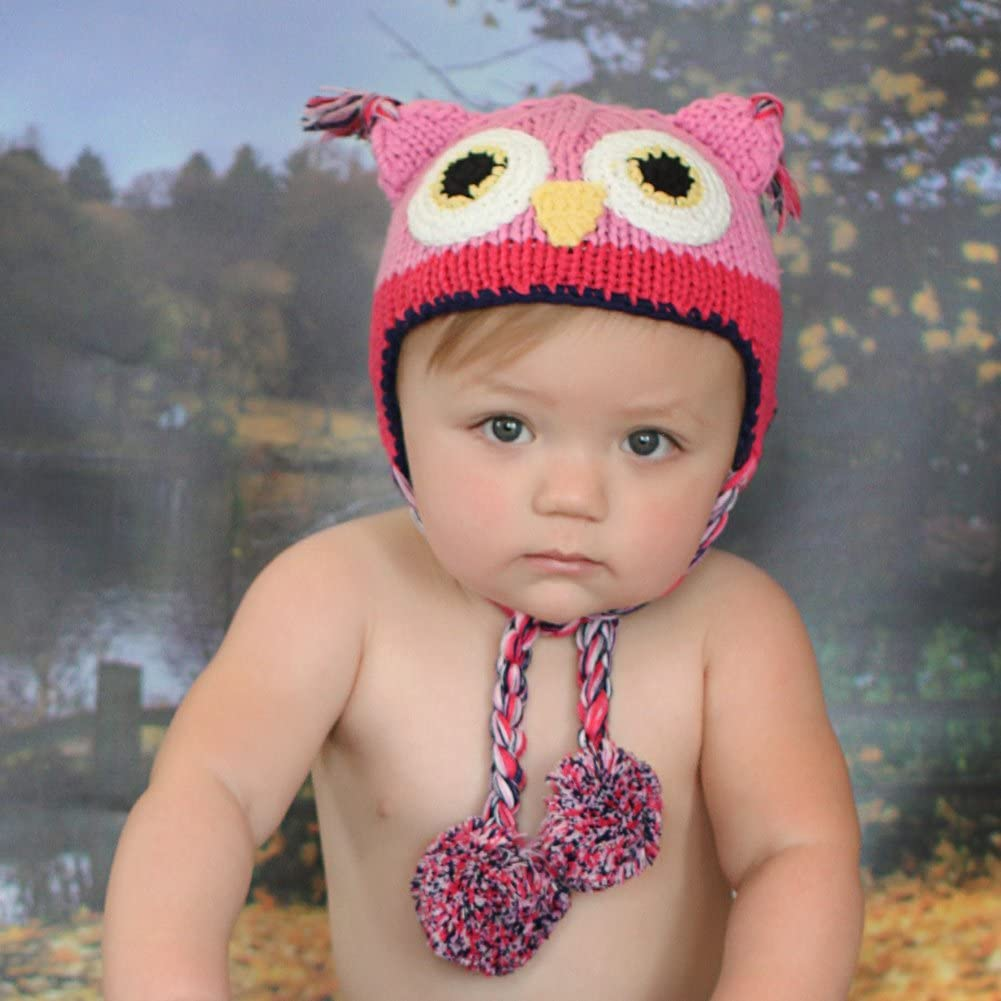 Huggalugs Baby and Toddlers Girls Pink Owl Beanie Hat